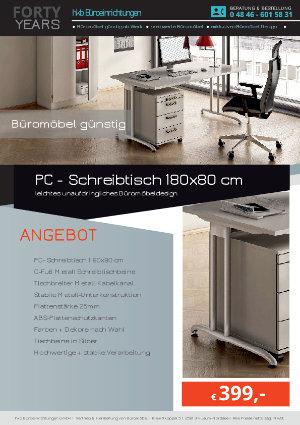 Angebot PC - Schreibtisch 180x80 cm aus der Kollektion Büromöbel günstig von der Firma HKB Büroeinrichtungen GmbH Husum