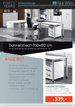 Angebot Schreibtisch 160x80 cm aus der Kollektion Büromöbel günstig von der Firma HKB Büroeinrichtungen GmbH Husum