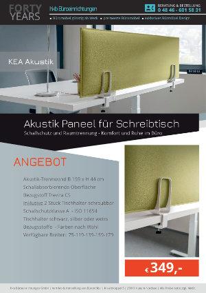 Angebot Akustik Paneel für Schreibtisch aus der Kollektion KEA Akustik von der Firma HKB Büroeinrichtungen GmbH Husum