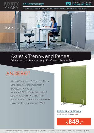 Angebot Akustik Trennwand Paneel aus der Kollektion KEA Akustik von der Firma HKB Büroeinrichtungen GmbH Husum