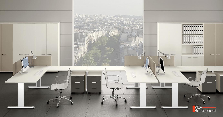 Kea Schreibtisch Kea Doppelarbeitsplatz mit Schreibtischplatte Melamin weiß. Kea Rollcontainer mit Schubladen und Zentralverschluss. Kea Büroschrank mit 5 Ordnerhöhen und Flügeltüren mit Schloss.