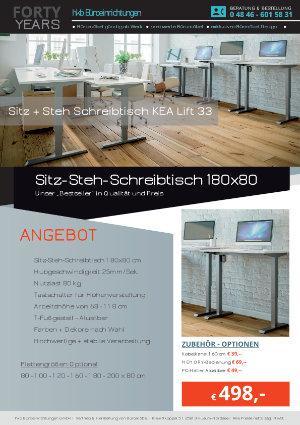 Angebot Sitz-Steh-Schreibtisch 180x80 aus der Kollektion Büromöbel Günstig von der Firma HKB Büroeinrichtungen GmbH Husum