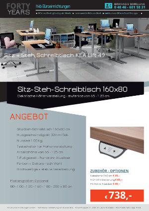 Angebot Sitz-Steh-Schreibtisch 160x80 aus der Kollektion Büromöbel Günstig von der Firma HKB Büroeinrichtungen GmbH Husum