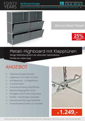 Angebot Higboard mit Klapptüren aus der Kollektion Büromöbel Metall von der Firma HKB Büroeinrichtungen GmbH Husum