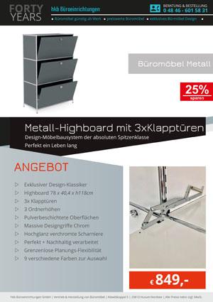 Angebot Highboard mit 3 x Klapptüren aus der Kollektion Büromöbel Metall von der Firma HKB Büroeinrichtungen GmbH Husum