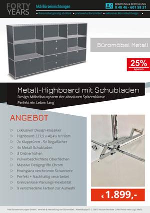 Angebot Highboard mit Schubladen aus der Kollektion Büromöbel Metall von der Firma HKB Büroeinrichtungen GmbH Husum