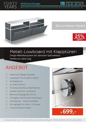 Angebot Lowboard mit Klapptüren aus der Kollektion Büromöbel Metall von der Firma HKB Büroeinrichtungen GmbH Husum