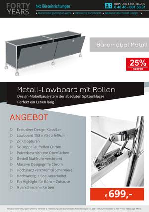Angebot Lowboard mit Rollen aus der Kollektion Büromöbel Metall von der Firma HKB Büroeinrichtungen GmbH Husum