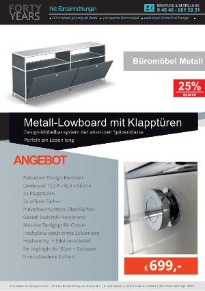 Angebot LMetall-owboard mit Klapptüren aus der Kollektion Büromöbel Metall von der Firma HKB Büroeinrichtungen GmbH Husum