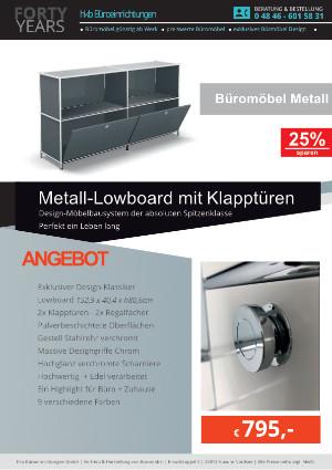 Angebot Metall-Lowboard mit Klapptüren aus der Kollektion Büromöbel Metall von der Firma HKB Büroeinrichtungen GmbH Husum