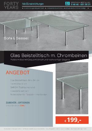 Angebot Glas Beistelltisch m. Chrombeinen aus der Kollektion hkb-11 von der Firma HKB Büroeinrichtungen GmbH Husum