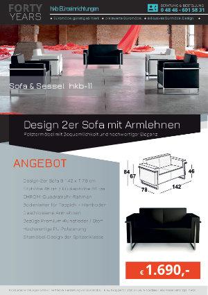 Angebot Design 2er Sofa mit Armlehnen aus der Kollektion hkb-11 von der Firma HKB Büroeinrichtungen GmbH Husum
