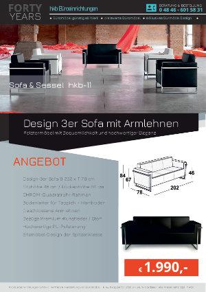 Angebot Design 3er Sofa mit Armlehnen aus der Kollektion hkb-11 von der Firma HKB Büroeinrichtungen GmbH Husum
