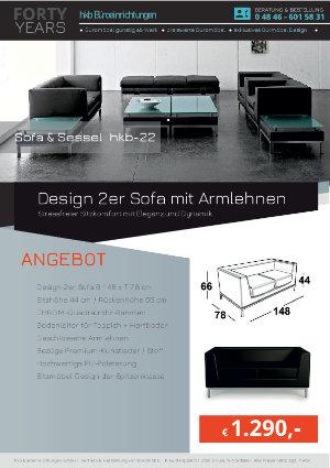 Angebot Design 2er Sofa mit Armlehnen aus der Kollektion hkb-22 von der Firma HKB Büroeinrichtungen GmbH Husum