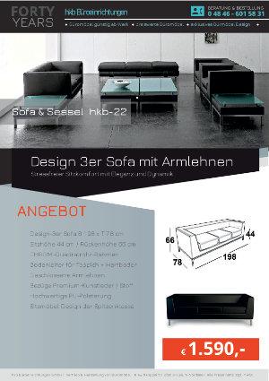 Angebot Design 3er Sofa mit Armlehnen aus der Kollektion hkb-22 von der Firma HKB Büroeinrichtungen GmbH Husum