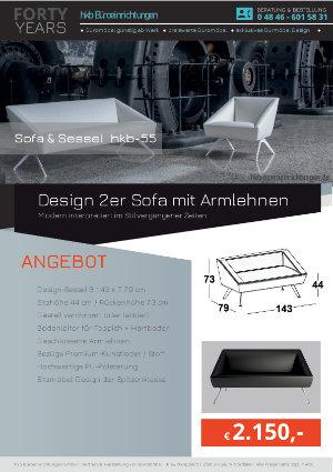 Angebot Design 2er Sofa mit Armlehnen aus der Kollektion hkb-55 von der Firma HKB Büroeinrichtungen GmbH Husum