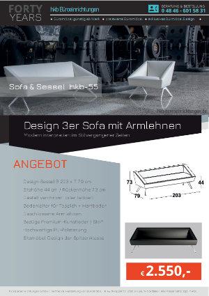 Angebot Design 3er Sofa mit Armlehnen aus der Kollektion hkb-55 von der Firma HKB Büroeinrichtungen GmbH Husum