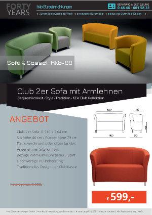 Angebot Club 2er Sofa mit Armlehnen aus der Kollektion hkb-88 von der Firma HKB Büroeinrichtungen GmbH Husum