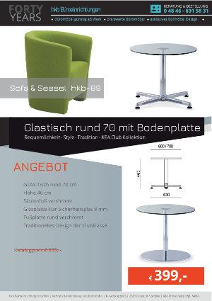 Angebot Glastisch rund 70 mit Bodenplatte aus der Kollektion hkb-88 von der Firma HKB Büroeinrichtungen GmbH Husum