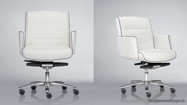 Chefsessel Ledersessel Bürosessel Leder Sessel Lederbezug in weiß Chefsessel mit Armlehnen