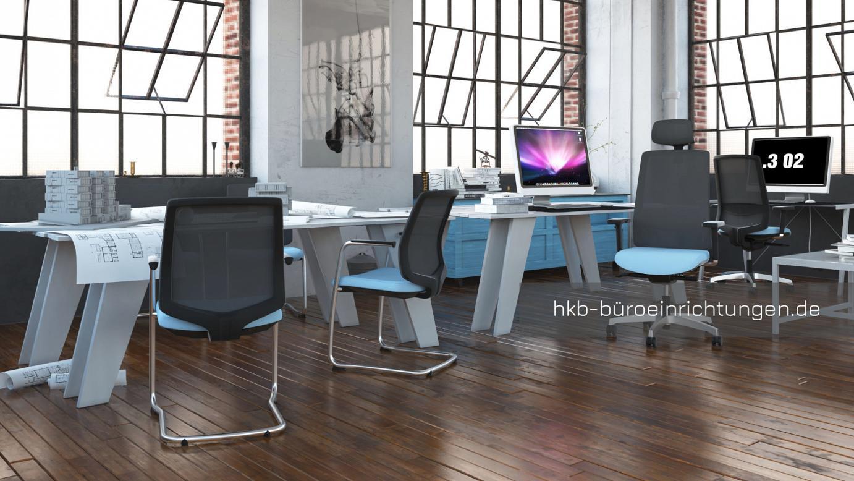 Bürostuhl Bürodrehstuhl Arbeitsstuhl Besucherstuhl Bürodrehstuhl mit ergonomischer Sitzfläche und Design-Untergestell auf Rollen