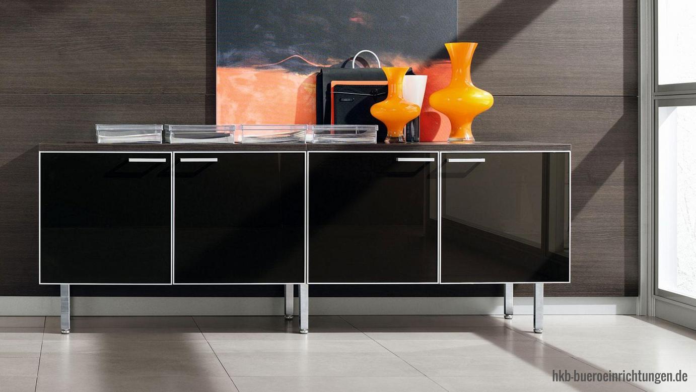 Chefbüro Sideboard Breite 200 cm mit 4 Glastüren schwarz und Aluminium-Rahmen mit aluminium Schrankgriffen Schrank Abdeckplatten in verschiedenen Dekoren und Farben - perfekt abgestimmt auf ihre Büroeinrichtung