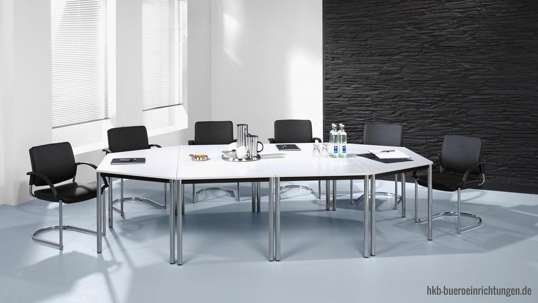 Büromöbel günstig Besprechungstisch - Meetingtisch Bueromoebel günstig in verschiedenen Größen mit Rundrohrbeinen in chrom Trapeztische mit unendlichen Stellmöglichkeiten