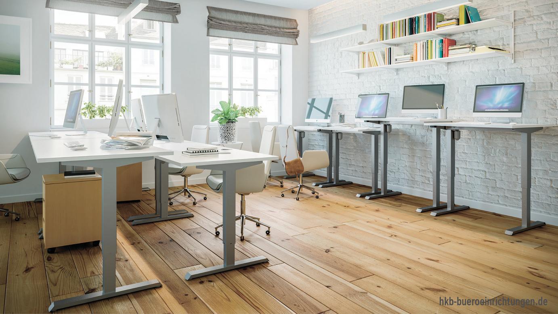 Sitz-Steh Schreibtisch elektrisch höhenverstellbar mit integriertem Sideboard und Besprechungs-Tisch - Die neueste Entwicklung im Bereich der ergonomischen Sitz-Steharbeitsplätze