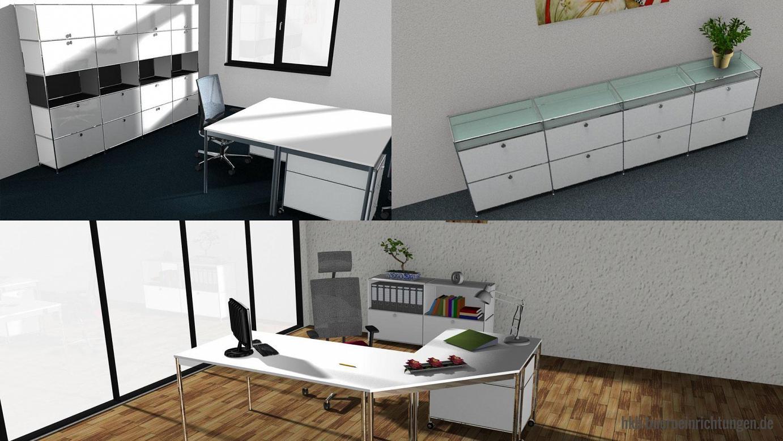 Büromöbel Büroplanung Einzelarbeitsplatz Chefarbeitsplatz Winkelkombination mit Metall Sideboard Lowboard Sideboard Breite 300 cm mit 8 Metall Klapptueren und Glasböden