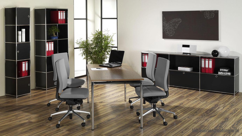 Büromöbel Konferenztisch Besprechungstisch Tisch mit runden Tischbeinen und Chromgestell Tischplatten in Dekor, Glas oder Echtholz-Furnier in Eiche schwarz